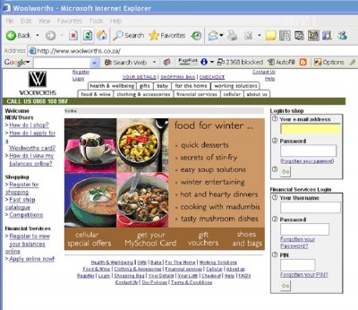 Woolworths Home Page 2005